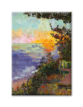 """""""Sunset on the Lakeshore with Marley"""" Magnet"""