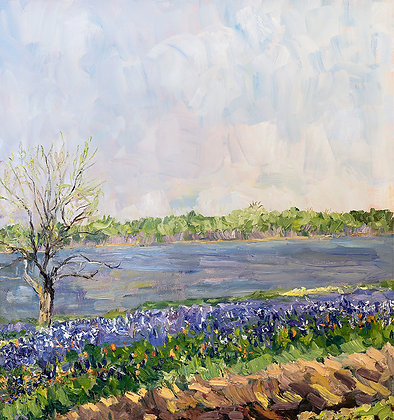 Bluebonnets at Lake Bardwell I (2017) Hand-Deckled Card