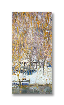 "Late Winter Glow for the Willow (2011) Gicée on Canvas - 28"" x 13.75"""