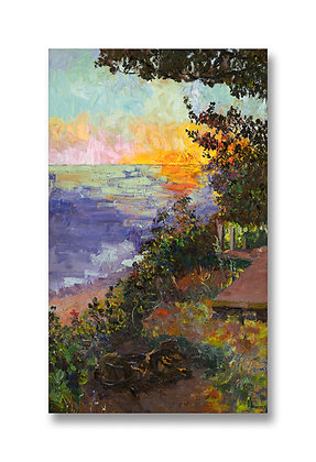 """Sunset on the Lakeshore With Marley (2012) Giclée on Canvas - 30"""" x 18"""""""