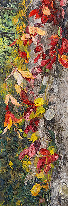Autumn Ivy on the Old Pine II (2017) Hand-Deckled Card