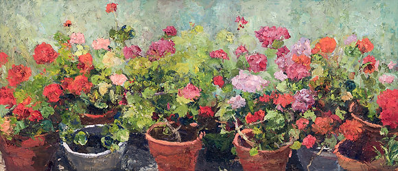 My Summer Studio Geraniums (2009) Hand-Deckled Card