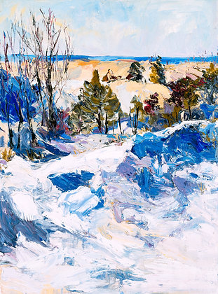 Winter Dunes, Saugatuck (2002) Hand-Deckled Card