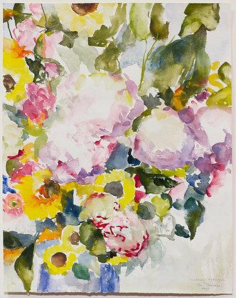 Sunflowers & Hydrangea I IHand-Deckled Card