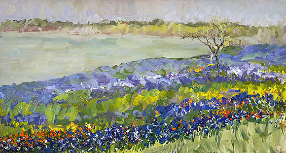 Bluebonnets at Lake Bardwell III, Ennis, Texas (2017) Hand-Deckled Card