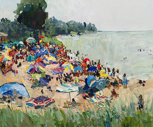 Oval Beach Umbrellas, Saugatuck (2020) Hand-Deckled Card