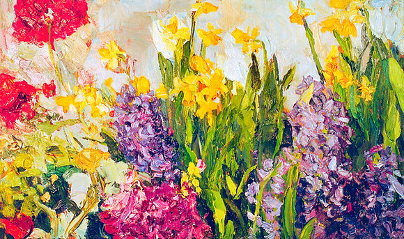Daffodils and Hyacinth (2003) Hand-Deckled Card