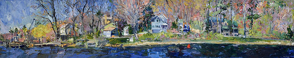 "Springtime, Kalamazoo River, Saugatuck (2003) Giclée on Canvas - 12"" x 60"""