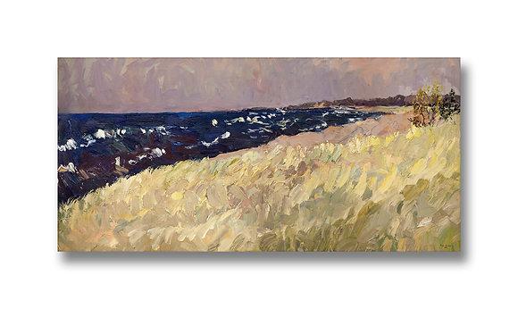 "September, Lake Michigan (2012) Giclée on Canvas - 13.5"" x 28"""
