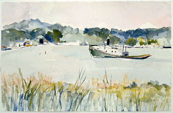 Kalamazoo River, Tugboat, Watercolor (2008) Hand-Deckled Card
