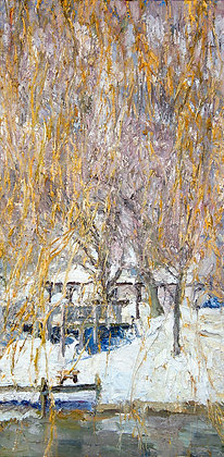 "Late Winter Glow for the Willow (2011) Giclée on Canvas - 28"" x 13.75"""