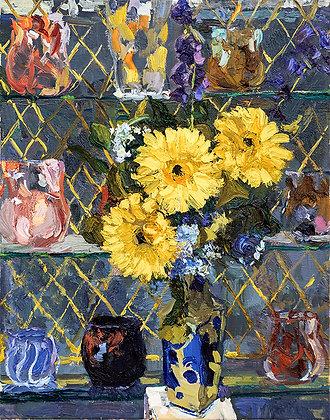 Yellow Gerbers in a Blue Flower Vase (2018)