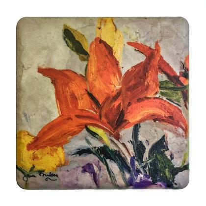 Coaster #1 - Orange Lilies