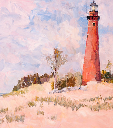 Little Sable Lighthouse (2005) Textured Giclée on Canvas