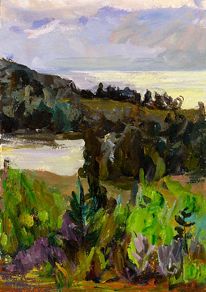 Ox-Bow Landscape, View from the Crows Nest (1993) Hand-Deckled Card