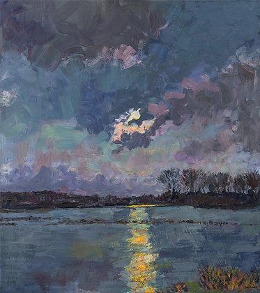 Moon Over the Bayou II (2020) Hand-Deckled Card