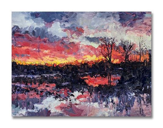 """Sunrise on the Bayou (2018) Giclée on Canvas - 36"""" x 48"""""""
