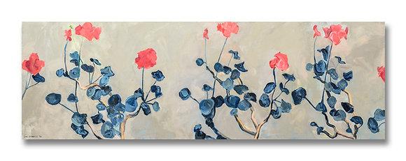 """Geraniums (1992) Giclée on Canvas - 16.25"""" x 50"""""""