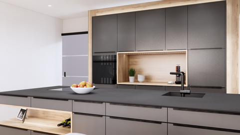 Küche_Anthrazit_modern_Eiche_Holz_Kochin