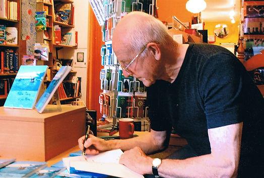 Robin Lloyd-Jones signing his book Fallen Pieces of the Moon