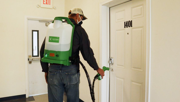Infecion Prevention Electrostatic Spray Cleaning in All Common Areas