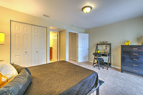 Desk and full-sized bed in every student bedroom!