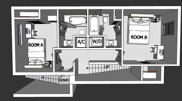 Two Bedroom 2.5 Bathroom Apartment Floor 2
