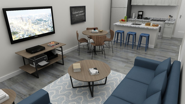 The Boxcar Living Room and Kitchen