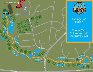 2020 Average Joe Run 5K Course Map Colum