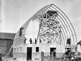 Construction of Laminated Gothic Arch Barn, 1937