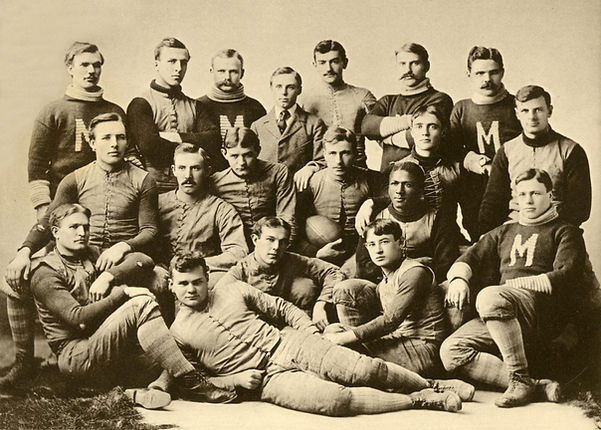 The 1892-1893 team photo for the University of Michigan (U-M) football team. George Jewett, the only African American on the team, sits in the third row from the top, second from the right.