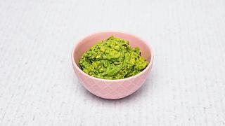 Pink bowl of guacamole