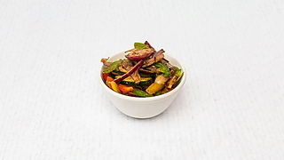Small bowl of grilled vegetables