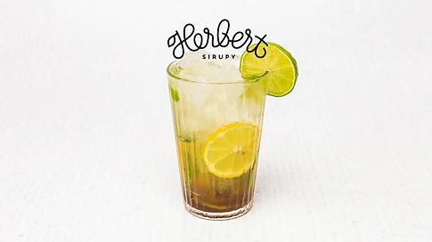 Glass full of lemonade with lime