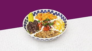 Burrito Bowl full of rise, beans, cheese, pork meat