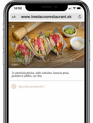 Food ordering on a smartphone