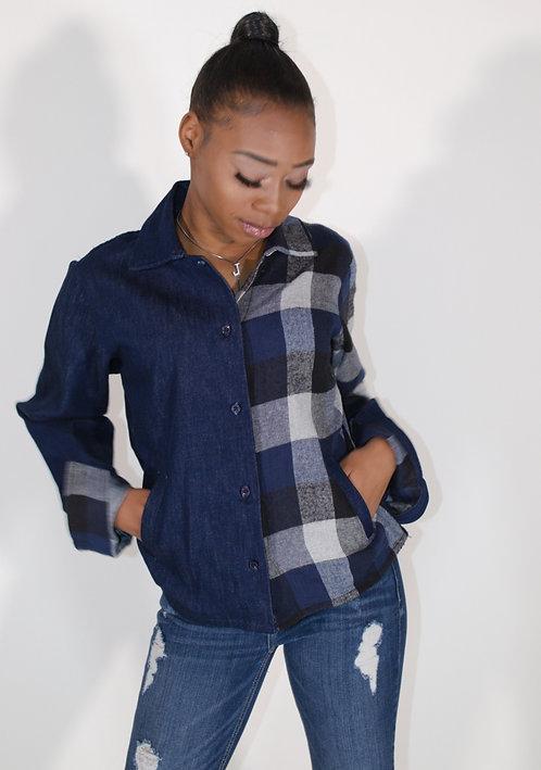 Women's 1/2 Flannel 1/2 Denim
