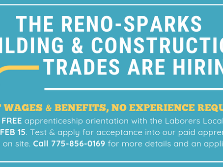 The Reno-Sparks Building & Construction Trades are Hiring!