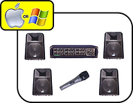 4 x Small PA Speakers, Amp & Mic