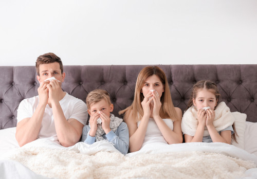 family at home with flu