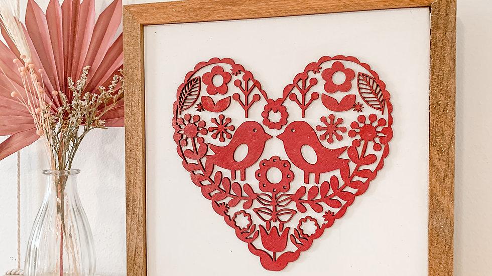Folk Heart laser cut sign