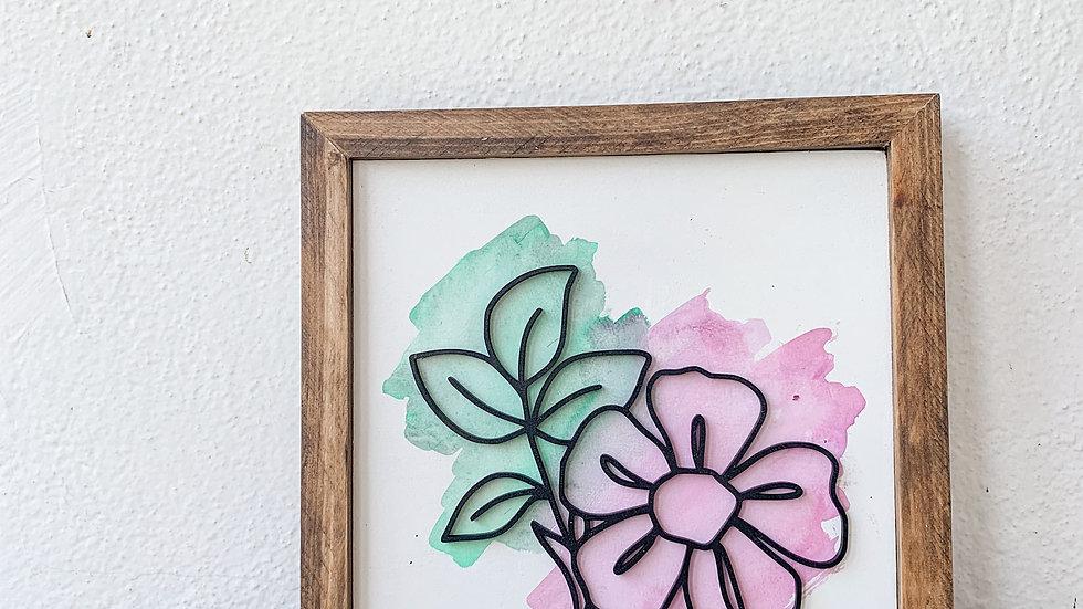 Watercolor Florals laser cut sign - 2 sizes