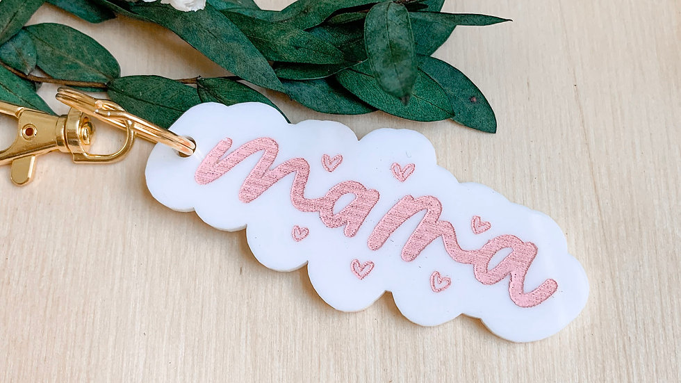 Mama acrylic keychain - white