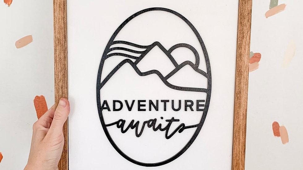Adventure Awaits laser cut sign