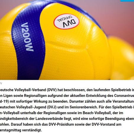DVV beschließt vorzeitiges Ende des Spielbetriebs der laufenden Saison