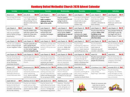 HUMC 2020 Advent Calendar