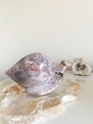 Rare Flower Agate Snail with Pink Amethyst druzy caves