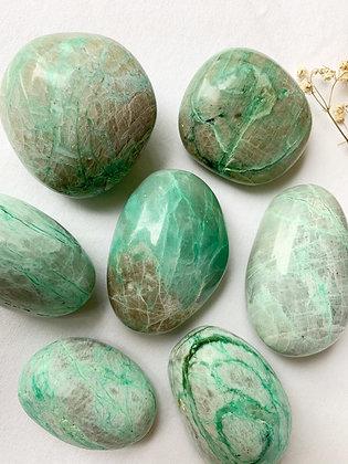 Green Moonstone Palm Stone