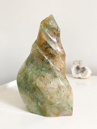 Natural Green Jadeite & Yellow Jade Large Flame 01