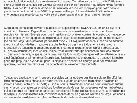 ENTREPRISE DE LA SEMAINE : SOLAR CLOTH SYSTEM (MANDELIEU)